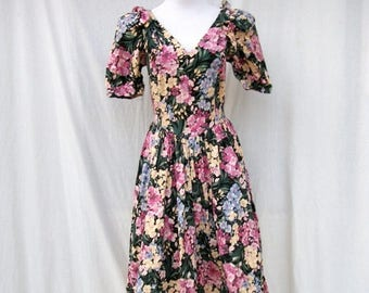 ON SALE 80s Floral Sundress size Small Sexy Romantic Plunging Neckline