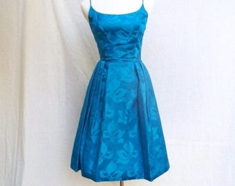 SALE 50s Royal Blue Cocktail Dress with Bolero size Extra Small Shimmery Floral