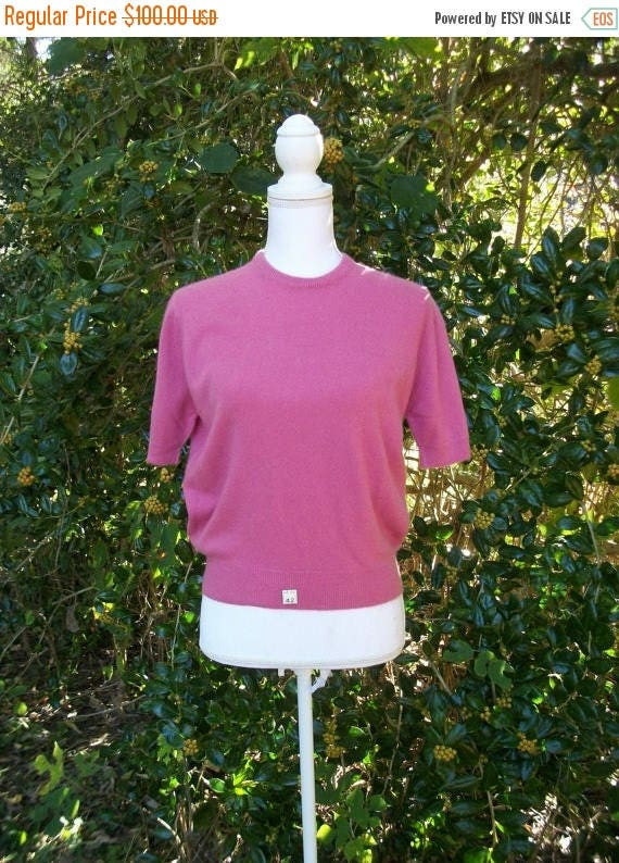 ON SALE 50s Rose Pink Cashmere Sweater size Medium Large Best & Company NOS Unworn