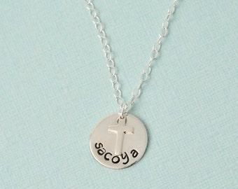 sterling silver baptism necklace / Goddaughter necklace / silver cross necklace / personalized name necklace