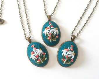 Coneflower Pendant in Turquoise | hand embroidered necklace, jewelry keepsake, floral, romantic, embroidered jewelry, wildflower, flower
