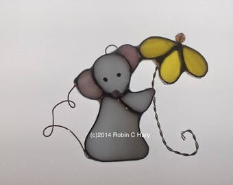 Mouse with Flower Suncatcher in Stained Glass