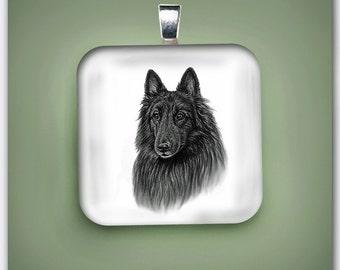Belgian Tervuren Dog Glass Pendant