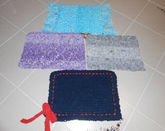 Four Original Design Knit Patterns For Mug Rugs Cotton Yarn