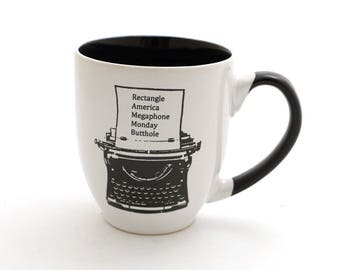 Father's Day gift idea , Ron Swanson mug, typewriter, Parks and Recreation, large 16 oz mug, Parks and Rec, Gift ideas under 25 , DL