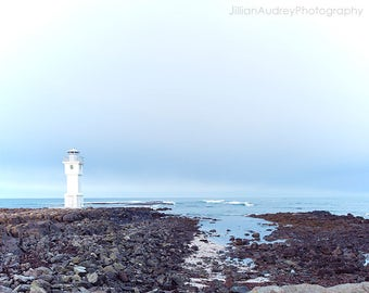 Lighthouse Photograph, Iceland Lighthouse, Iceland Photography, Nordic, Travel, Lighthouse Art, Nautical, Coastal, Seaside, Akranes, Sea