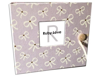 Lavender Bows Baby Book - Ruby Love Modern Baby Memory Book