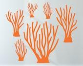 Sea Coral Wall Decals Kids Baby Ocean Underwater Nursery (6-Pack)
