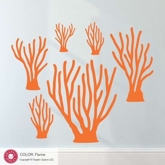Sea Coral Wall Decals Ocean Underwater Sea Life Nautical Coral Reef Baby Nursery Kids Room Decor (6-Pack)
