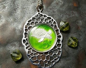 Papua New Guinea - Turtle Coin Pendant - Hand Painted