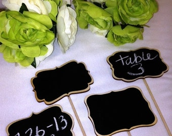 Holiday SALE- 4 Mini Chalkboard Signs- Chalkboards on Sticks - Chalkboard Stakes - 6 Style Choices, Cake Toppers