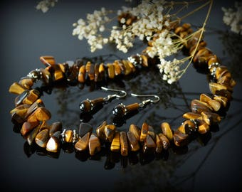 Tiger Eye Necklace Brown Necklace Gemstone Statement Necklace Women Jewelry Healing Beauty Gift Clothing Gift Coworker Gift Birthday gift