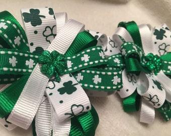 St. Patrick's Day Bows - Shamrock Bows - Pigtail Bows - Shamrock Pigtail Bows - St. Patricks Hair Bows - Shamrock Hair Bows