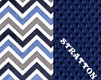 Minky Baby Blanket Boy,  Personalized Baby Blanket // Midnight Blue Gray Chevron Baby Blanket // Boy Baby Blanket // Baby Shower Gift