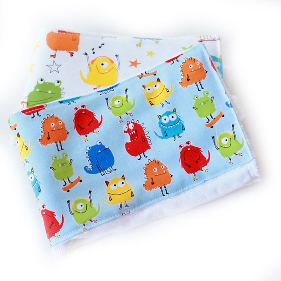 Boy Burp Cloth - Monster Burp Cloths- Green Blue Orange Red- Diaper Burp Cloth set of 2 // Cotton Burp Cloths // Baby Shower Gift