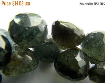 SALE Moss Aquamarine faceted onion briolette