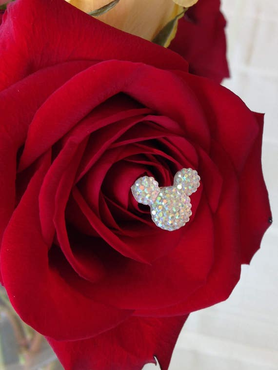 6 Hidden Mickey-Disney Inspired-Mouse Ears Bouquets-Wedding Flower Picks-Floral Pins-Flower Posts-Clear AB Bridal Flowers-Bouquet Picks
