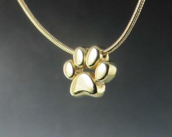 Gold Paw Print Slide Pendant on Snake Chain