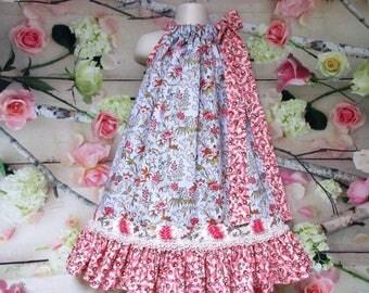 Girls Dress 5/6 Blue Coral Floral Boutique Pillowcase Dress Sundress, Pillow Case Dress