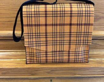 Orange Plaid Large Messenger Bag