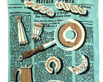 Vintage Tea Towel Herald Times Newspaper Breakfast Food Coffee Pot 1950s Mid Century