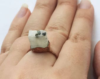 CLEARANCE SALE Rough moonstone copper ring