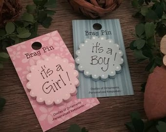 New Birth Brag Pin, New Baby, It's a Boy, It's a Girl, Baby Gift, Baby Reveal, Birth Announcement