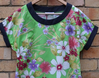 Green watercolour floral print top