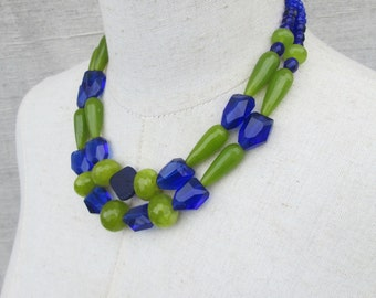 Peridot Green Cobalt Blue Double Strand Beaded Beaded Statement Necklace