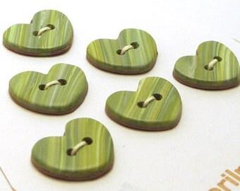 Handmade Heart  Buttons Green Stripes 15mm