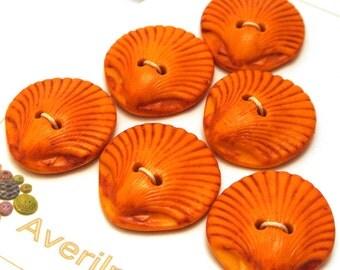 Handmade Buttons Orange Shell Shape 25mm