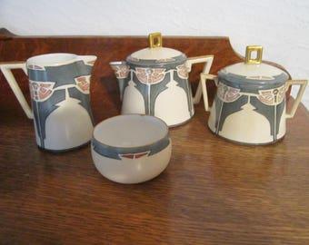 Reduced 10% - ART NOUVEAU  Tea Set  ~ ELEGANT ~ Individual Tea Pot / Creamer/ Sugar/ Wastebowl ~ Excellent Condition~ Dated 1911