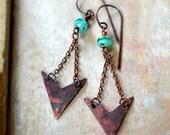 ON SALE Rustic arrow earrings, tribal earrings, bohemian earrings - Artemis