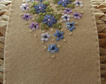 Hand Embroidered Felt Glasses Case  with Violets and Forget Me Nots