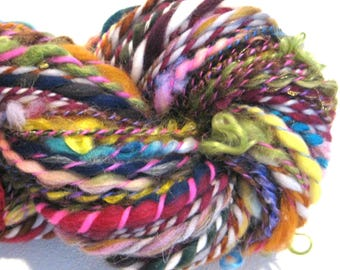 Handspun Yarn Waste Not Want Not D 104 yards rainbow yarn art yarn knitting supplies crochet supplies waldorf doll hair art yarn