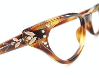 Vintage 50s Paris France Cat Eye Glasses Frames