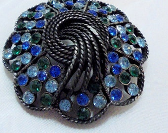 Vintage Blue, Green Rhinestone Pin by KRAMER OF NY