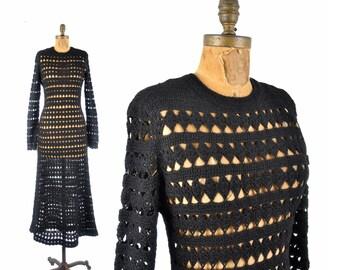 1970s crochet dress / gothic maxi dress / 1970s black hand crochet dress
