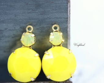 Opaque Lemon Yellow & Yellow Opal Vintage Round Faceted Stones 18x11mm Swarovski Crystal Earring Drops Connector Brass Settings - 2