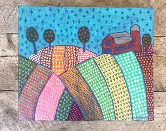 "Original Folk Art Painting on 2"" Hemlock - ""The Farm"" - With Tin Edging 14.5"" x 12.25"" x 2"""