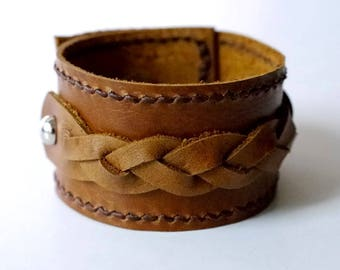 Braid Leather Cuff in Tan Leather Bracelet Leather Bangle with Metal Silver Tone Button