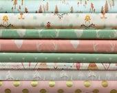 Custom, Listing, Hello, Bear, Fabric, Bundle, Mint, Pink, Gold, Deer, Baby, Boy, Girl, 8, FQs