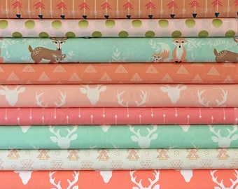 Baby, Girl, Custom, Bundle, Pink, Mint, Coral, Hello, Bear, Deer, Arrow, Buck, Woodland, Fabrics, Modern, Rustic, Custom, Cuts, U CHOOSE 10