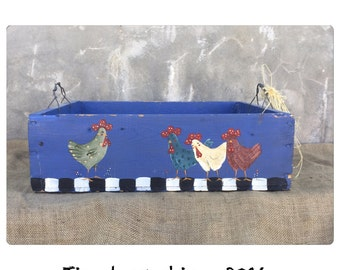Wood Crate - Wooden Crate - Ottoman Tray - Wood Tray - Chicken Decor - Rooster Decor - Rustic Decor - Farmhouse Chic