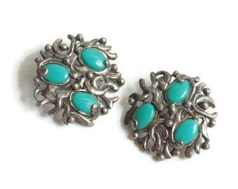 Southwestern Faux Turquoise Earrings SanCrest Clip On Style
