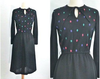 Vintage 70s Black Knit Dress with Bright Embroidered Diamonds - Small to Medium