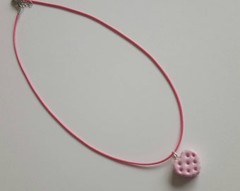 Cookie Charm Necklace - Pink Cookie with Mint Icing Polymer Clay Charm