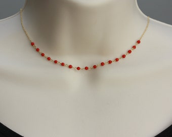 Red Delicate Necklace, Choker, Gold filled, Sterling Silver, Birthday Gift for Wife, for Prom, for Graduation, for Layering, Summer Dress