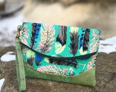 Heidi Foldover Clutch in green feathers + cork | Custom Handmade Purse