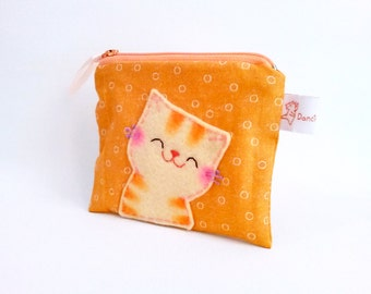 Smiling Cat Coin Purse Zipper Pouch Cute orange small change Purse Cat Lover Gift for cat lady colleagues sweet gift
